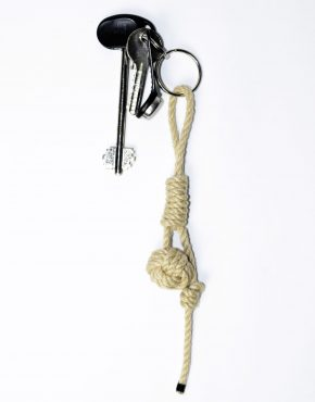 Nautical rope keyring beige