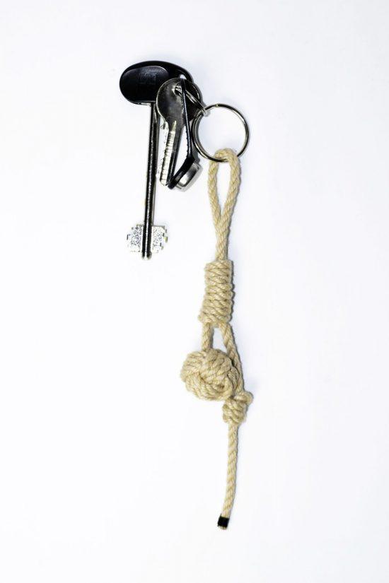 Nautical rope keyring beige