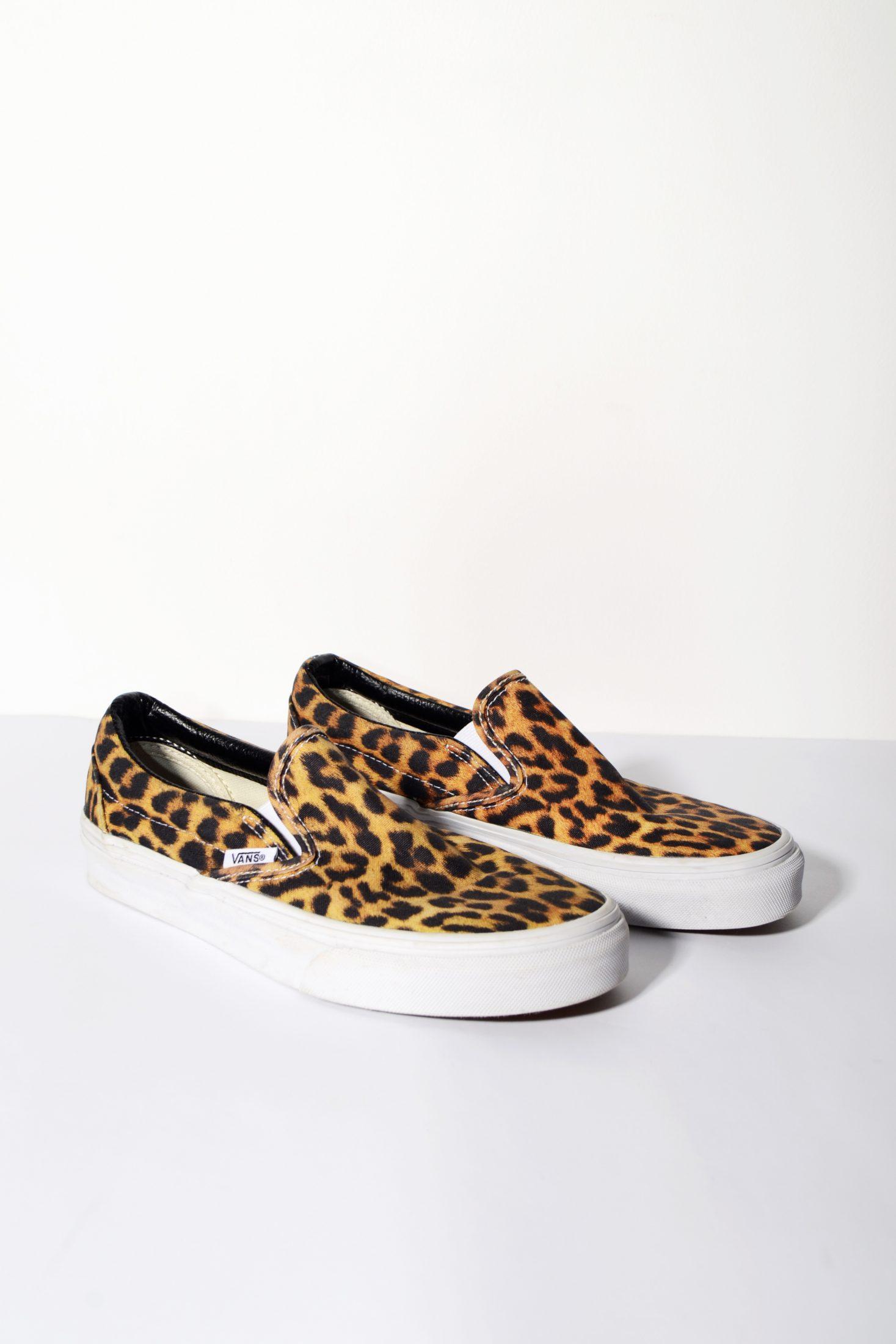 6044de15ebe4ee Vans Leopard Print Slip On Trainers