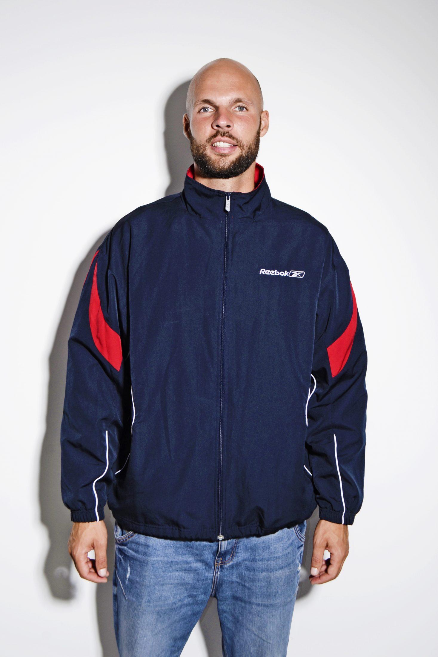 4e004e320a5f8 Vintage Reebok track jacket blue men