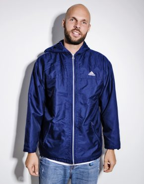 Adidas vintage hooded jacket blue