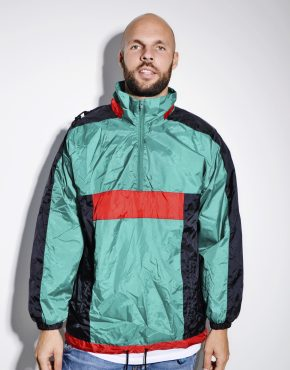 90s green mens hooded jacket
