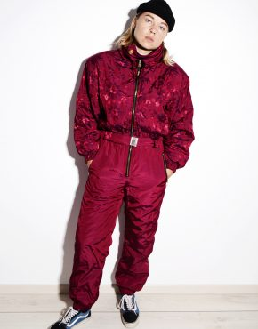 80s vintage red ski suit