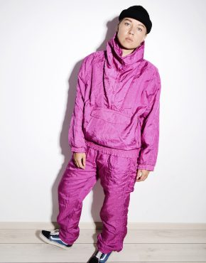 80s pink womens ski suit