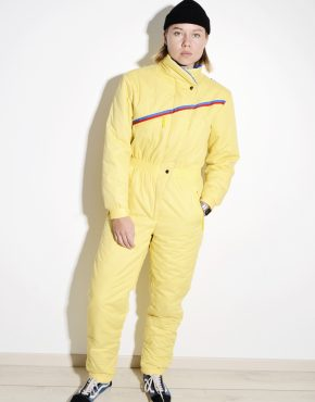 Vintage yellow ski suit womens