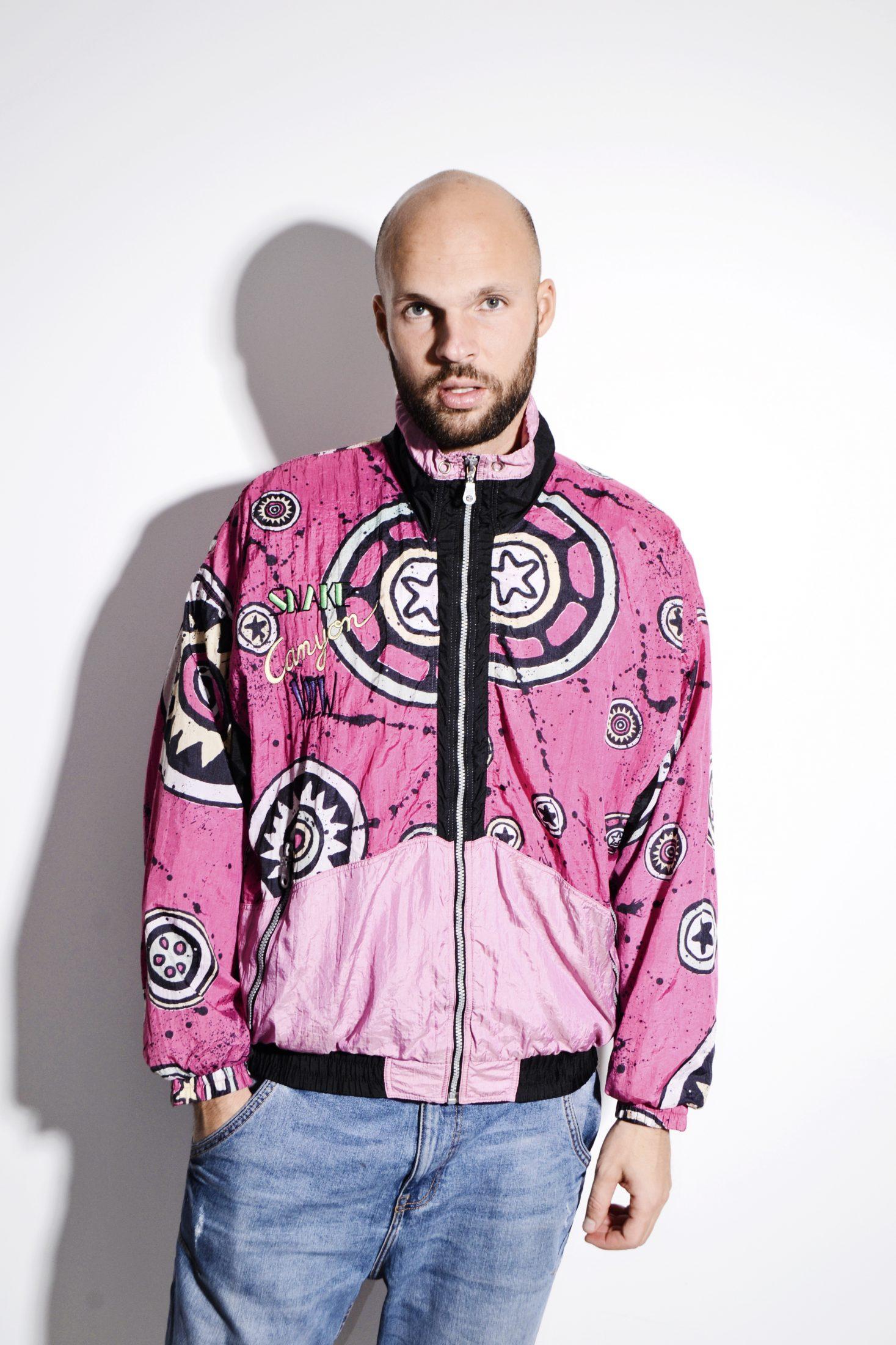0d9968f68 90s pattern crazy hipster festival windbreaker in pink