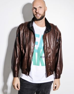 80s brown leather motorcycle jacket