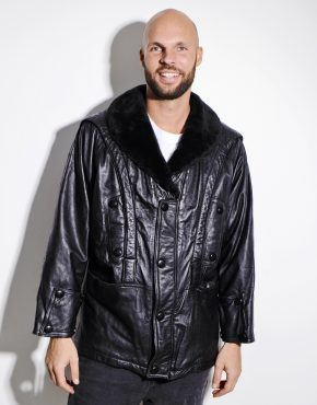 80s leather parka jacket