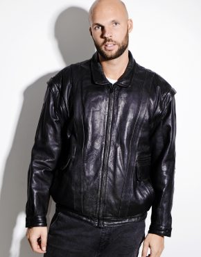 80s black real leather jacket