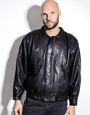 80s black genuine leather jacket