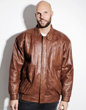 80s brown leather biker jacket
