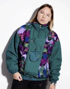 80s multi green warm hooded parka anorak ski jacket