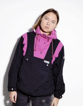 80s black pink warm hooded parka anorak ski jacket