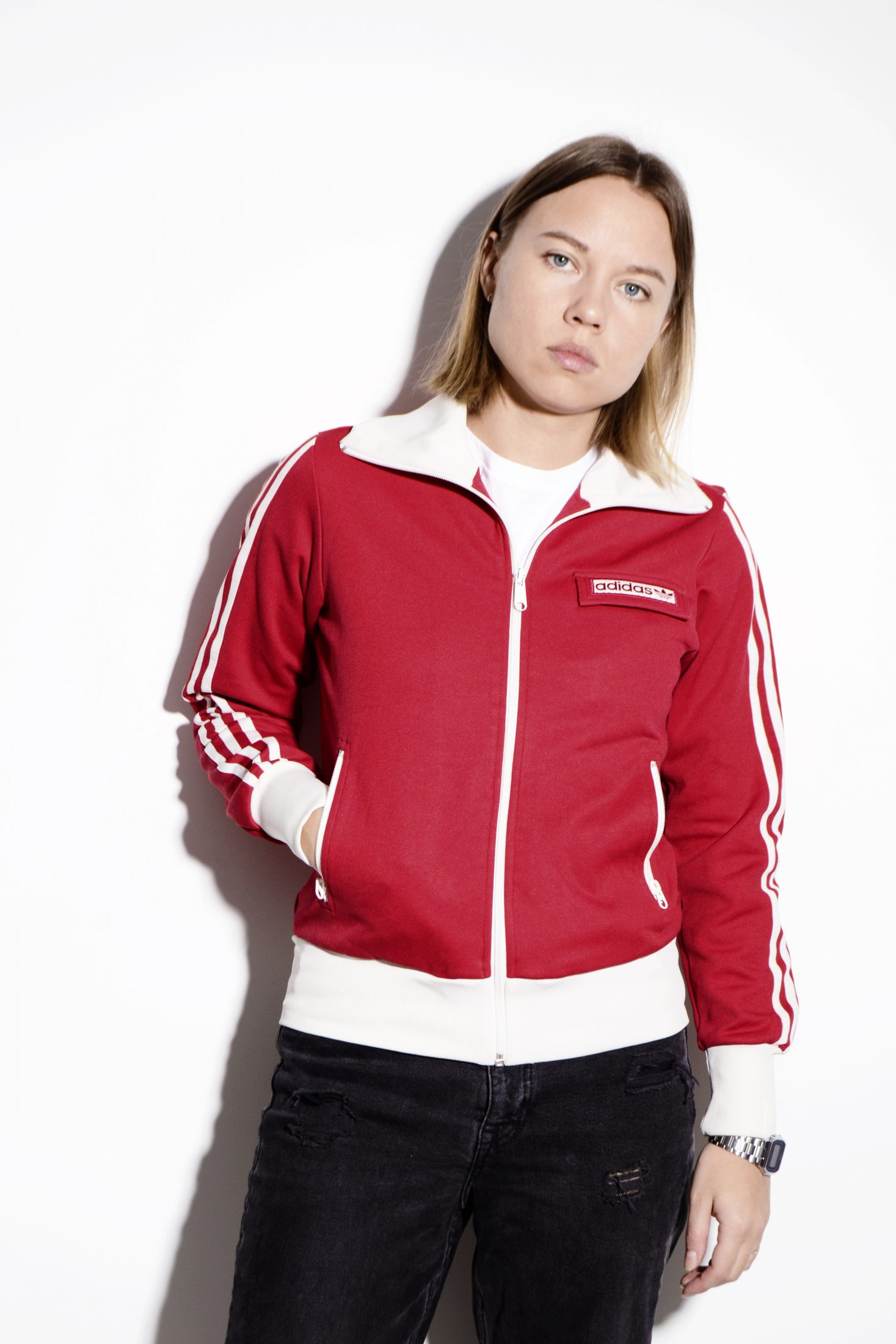 ADIDAS Originals vintage red & white classic retro 70's 80's track jacket