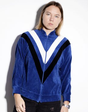 80's velvet track jacket in blue