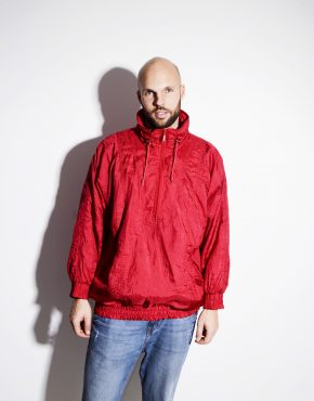 Vintage 80s red windbreaker lightweight unisex shell jacket