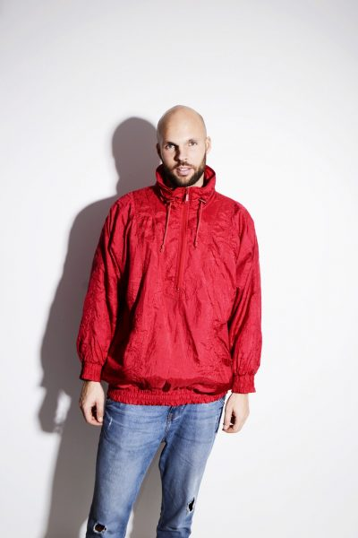 Vintage 80s red windbreaker lightweight unisex shell jacket