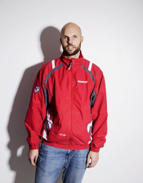 90s festival shell jacket by DONIC in red colour