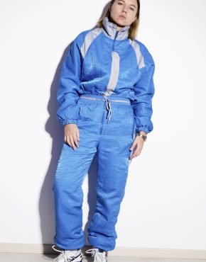 80s vintage winter warm ski suit in blue colour for women