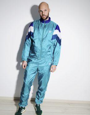 ADIDAS originals vintage sport tracksuit men cyan blue green colour