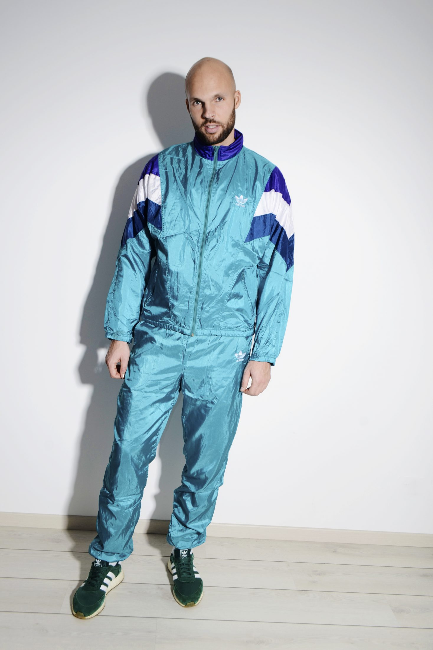 7ef1239f1f5bf ADIDAS originals vintage sport tracksuit men cyan blue green colour