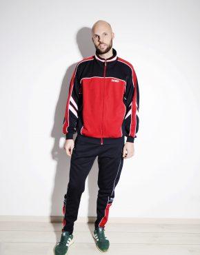 80s red black tracksuit for men