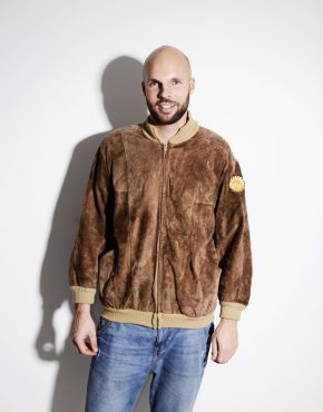 Vintage brown genuine suede leather bomber jacket for men