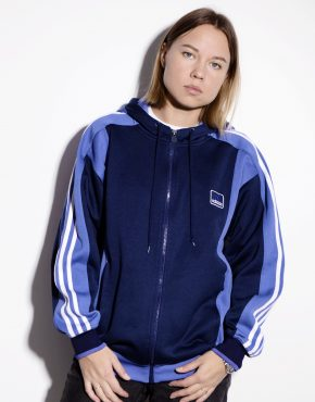 Adidas blue cozy hooded track jacket