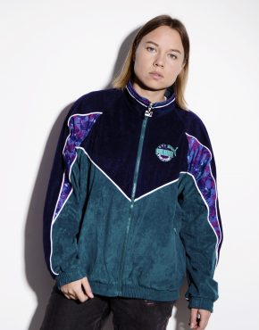 PUMA 80's velvet track jacket in green