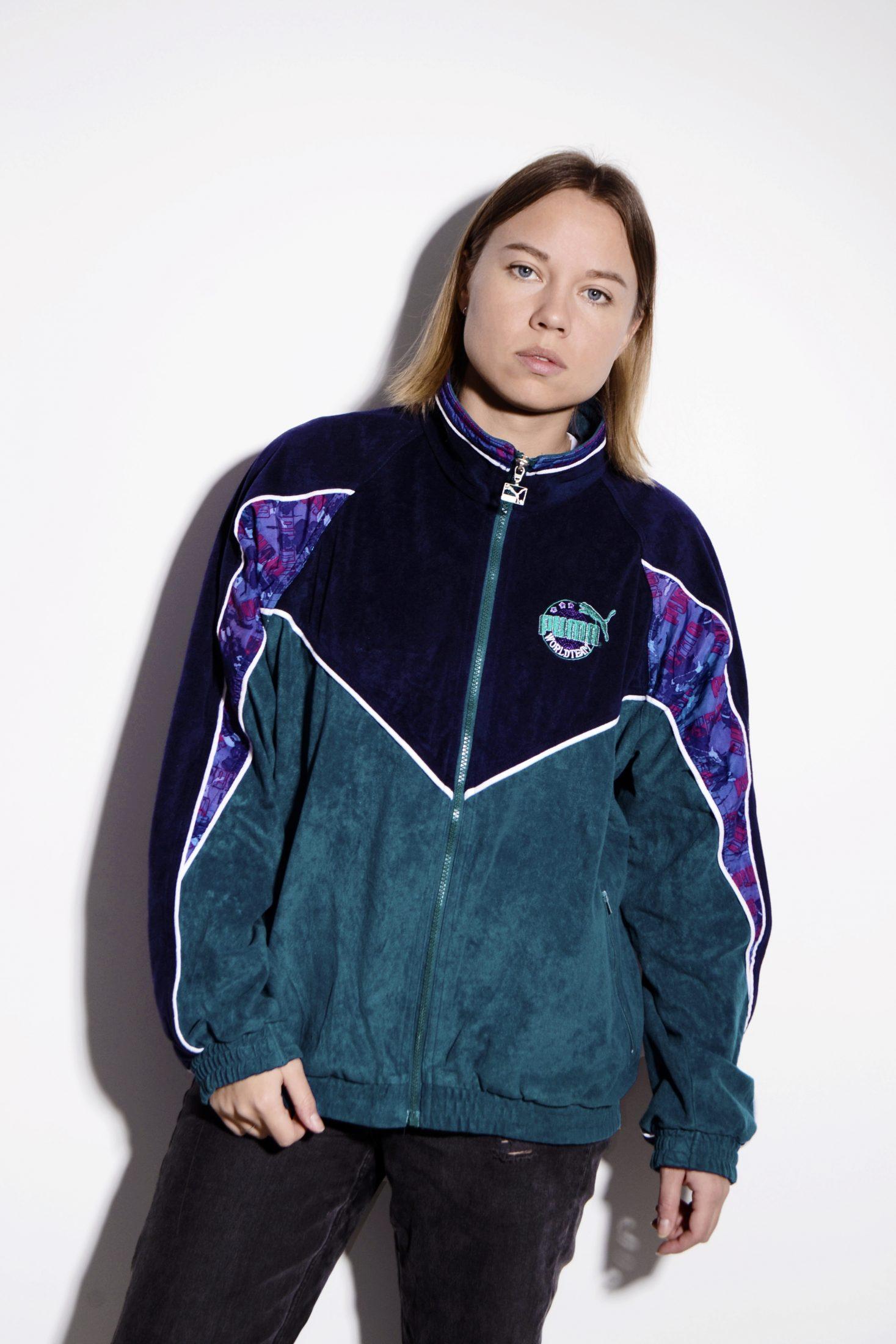 b95e1048d6fe9 PUMA 80's velvet track jacket in green