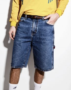 US POLO ASSN skater long length denim shorts in mid wash blue jeans