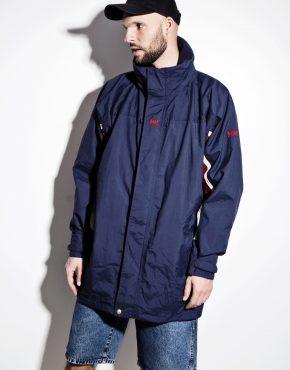 HELLY HANSEN long blue parka jacket with blue hood