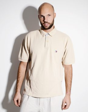 TOMMY HILFIGER vintage polo shirt in cream colour