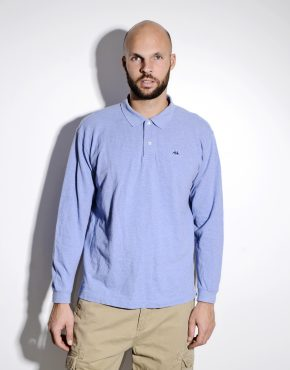 KAPPA vintage long sleeve polo shirt in light blue colour