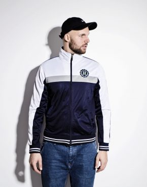 Old School track jacket for men in blue and white colour