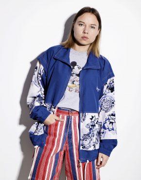 Vintage festival rave shell jacket blue