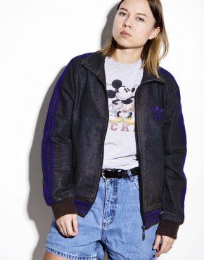 Adidas Originals denim jacket in dark gray and purple color
