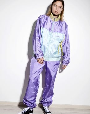 PUMA vintage tracksuit set in purple multi color block