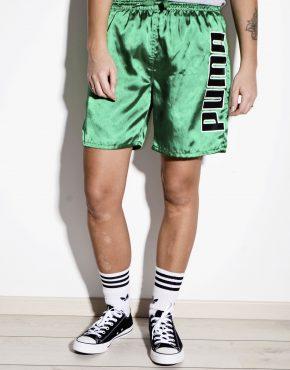 PUMA retro neon green sport shorts for kids or women