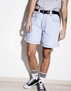 Skater long length wide denim shorts in light wash blue jeans