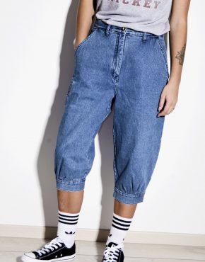 80s jean capris pants long length blue denim shorts