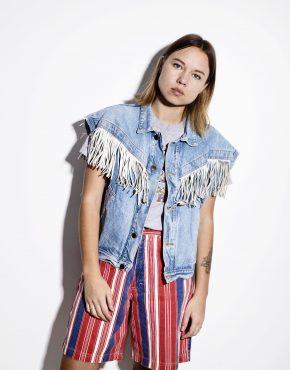 Vintage hippie 70s denim fringe vest jacket
