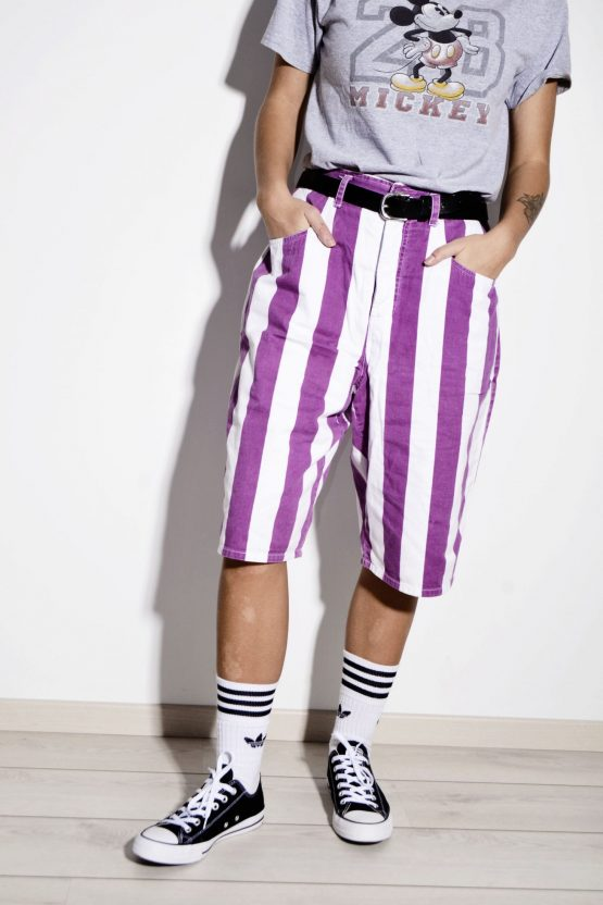 ESPRIT 90s striped long length cotton shorts