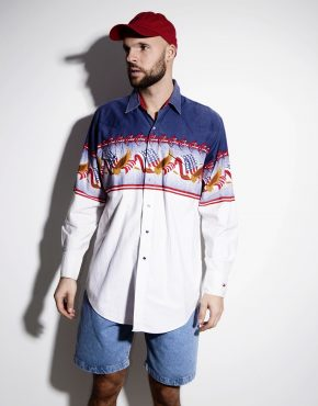 Vintage crazy 90s abstract blue men's shirt