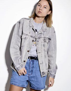 Vintage denim grey acid bleached light stone washed jacket coat unisex