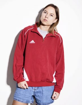 ADIDAS red warm spring pullover with front logo