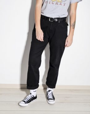 Vintage soft smooth cotton thin summer pants in black