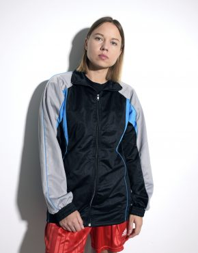 Vintage track jacket in black gray unisex