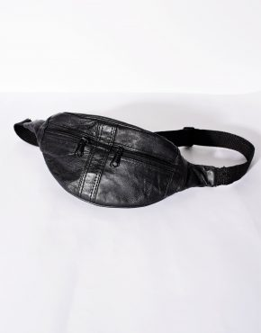Vintage festival small soft leather bum bag in black