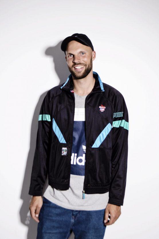 PUMA international 80's track jacket in black color